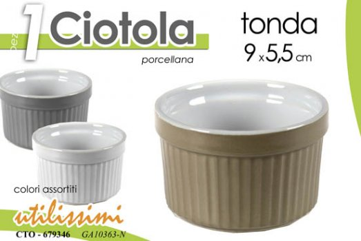 CIOTOLA TONDA IN PORCELLANA PORTA SALSE COLORATA ASSORTITA