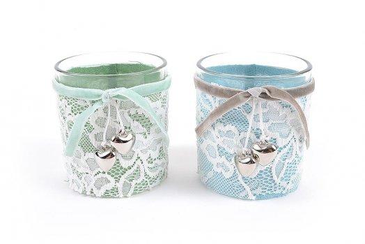 Prodotti porta candela tea light in vetro country con pizzo - Porta tea light ...